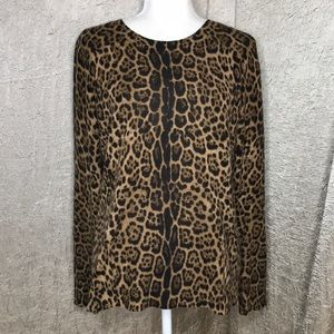 Only Mine Cheetah Print Cashmere Sweater Sz Large